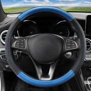 Cofit Microfiber Leather Steering Wheel Cover Universal Size 37-38cm Blue and Black