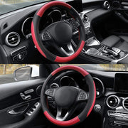 Cofit Microfiber Leather Steering Wheel Cover Universal Size 37-38cm Red and Black