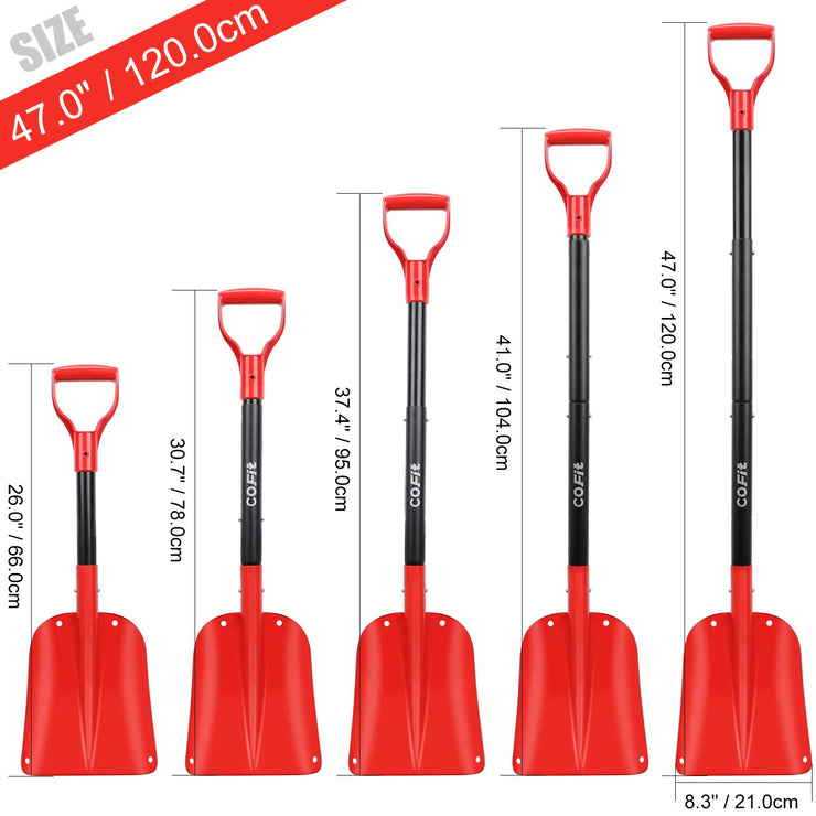 "Cofit 47"" Extra Long Handle Retractable Snow Shovel of Aluminum Alloy for Car Outdoor Camping and Garden,Four-Piece Construction"