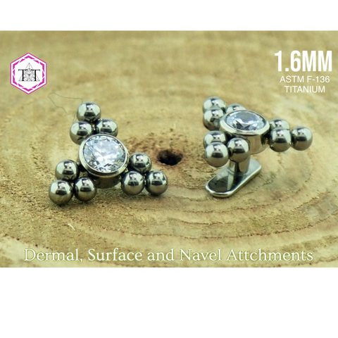 1.6mm Attachment with Swarovski Clear Crystal and 9 bead triangle - Titanium Tailor Body Jewellery