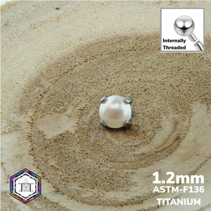 1.2mm Attachment Pearl Claw Set - Titanium Tailor Body Jewellery