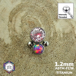 1.2mm Attachment - Faze with Multi Lavender Opal & Pink CZ Crystal - Titanium Tailor Body Jewellery