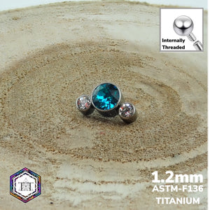 1.2mm Attachment 3 Bezel Set Cluster Teal and Clear CZ Crystal.  WS - Titanium Tailor Body Jewellery