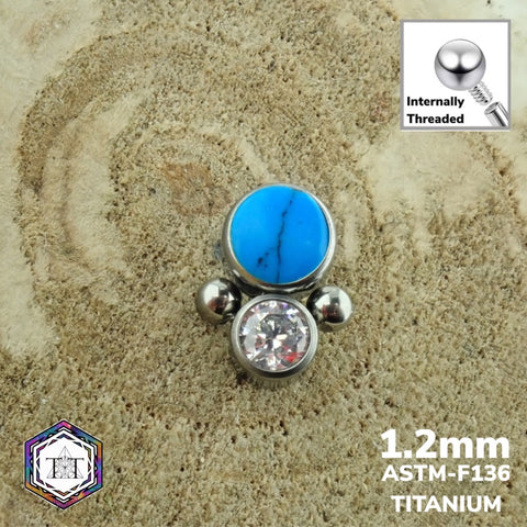 1.2mm Attachment - Faze with Turquoise Stone & Clea CZ Crystal - Titanium Tailor Body Jewellery