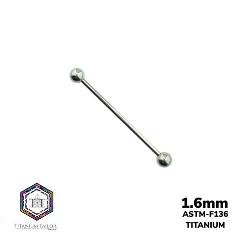 Classic Straight Barbell 1.6mm (32mm-40mm) - Titanium Tailor Body Jewellery