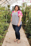 Fuchsia Floral Short Sleeve Top
