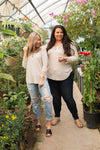 Cuffed With Love 3/4 Sleeve Top in Oatmeal - M & H