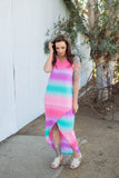 Summer Sunset Tulip Maxi Dress