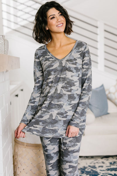 Charcoal Camo Lounge Top - M & H