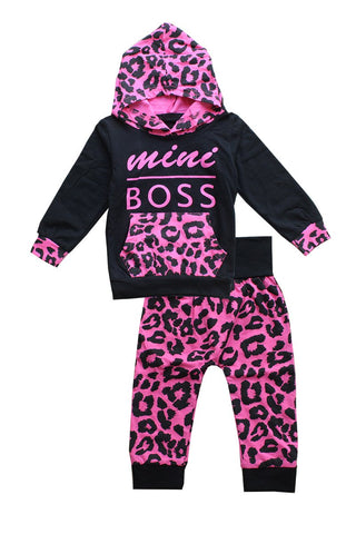 Mini Boss Leopard Hoodie Set - M & H Littles