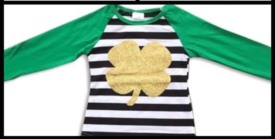 Gold Sparkle 4 Leaf Clover Ruffle Sleeve Top