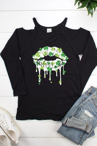 Shamrock Lips Cut Out Front and Cold Shoulder Top - Black Long Sleeve