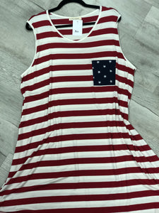 Red and White Striped Tank Dress - M & H