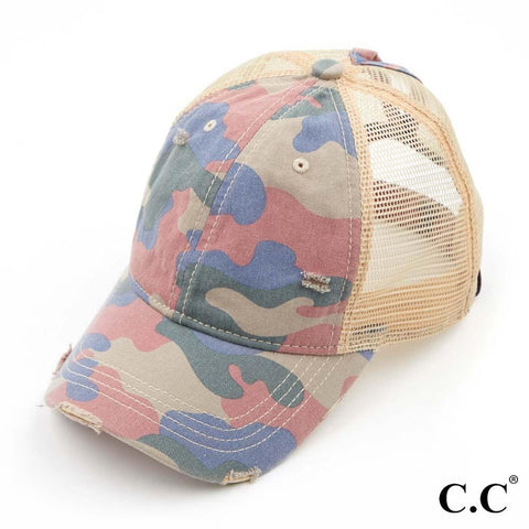 Camouflage Washed Cotton Twill Ponytail Cap With Mesh - M & H