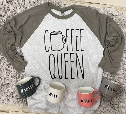 Coffee Queen Army Green Raglan - M & H