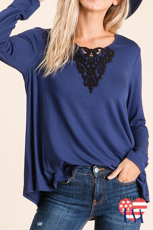 Navy Long sleeve Top with Black Lace Detail