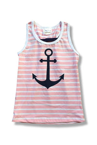 Anchor Tank Top with Bow Tie Back - Kids (Pink)