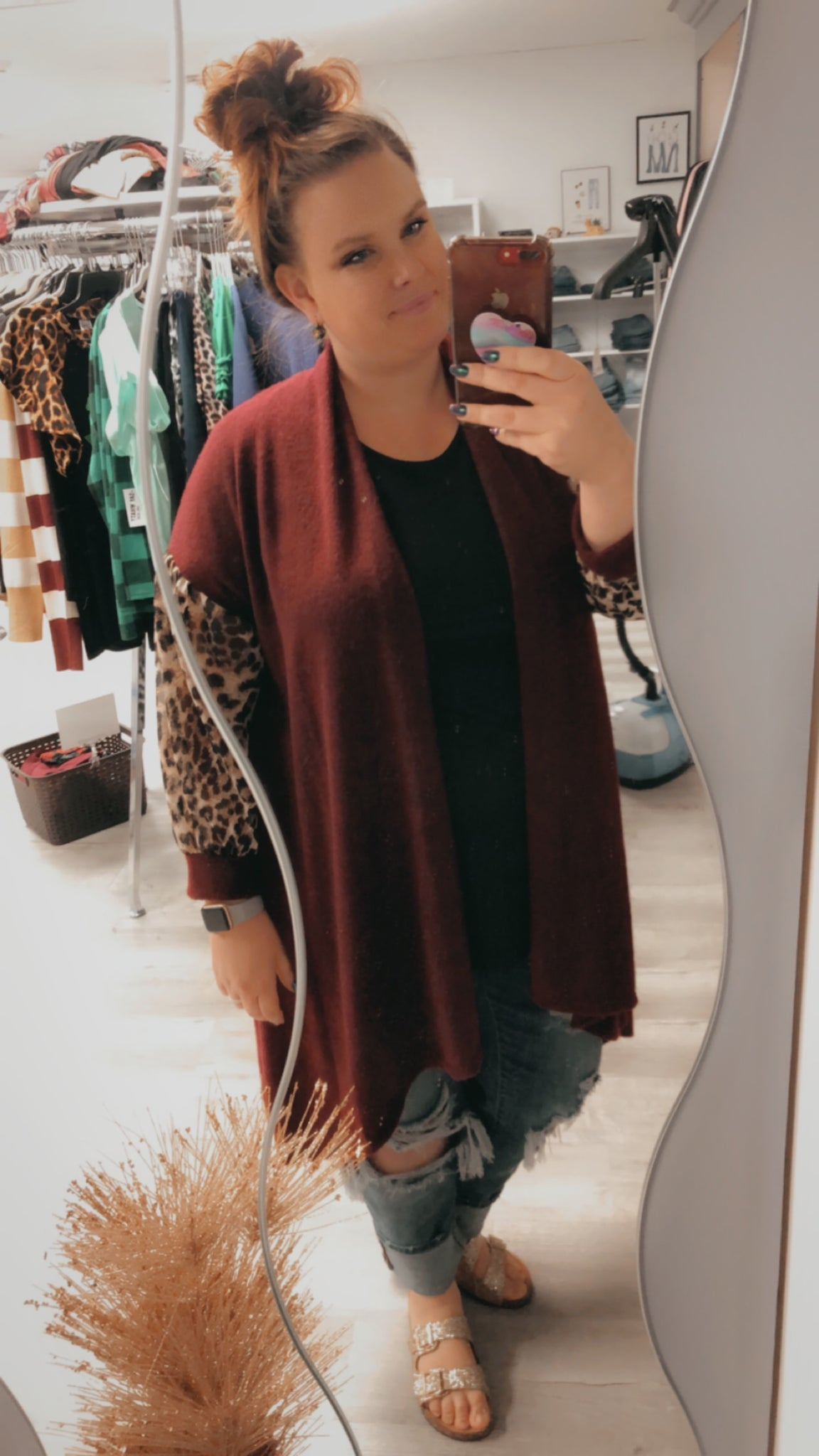 Wine Duster with Leopard Sleeve