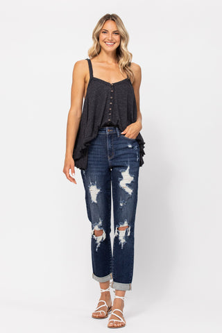 Judy Blue Destroyed High Waisted Cuffed Boyfriend Jeans - M & H - PREORDER PAY ONLY HALF NOW