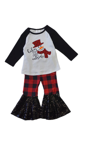 Snowman Plaid Bell Pants Set - M & H Littles