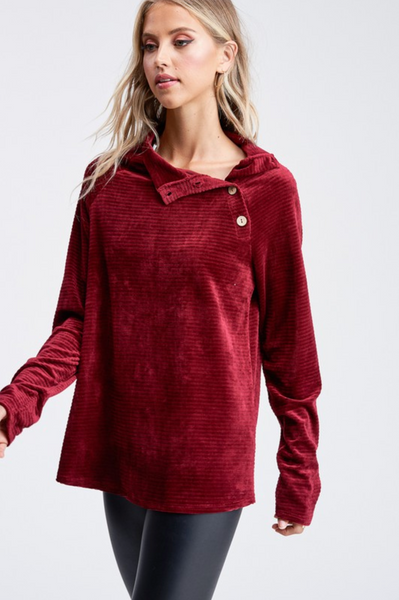 For The Win Burgundy Velour Sweater