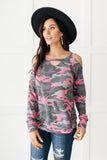 Hot Camo Cold Shoulder Top