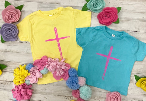 Pink Cross Tee - 2 Colors Available - M & H Littles