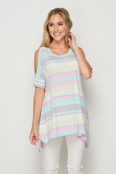 Perfectly Pastel Cold Shoulder Tunic