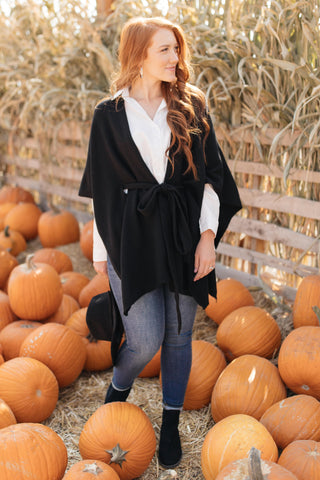 Perfect Poncho Cardigan in Black - M & H