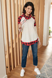 Plaid Details Top in Red - Size Small Only - M & H