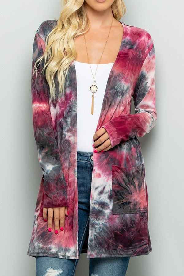 Tie Dye Cardigan Navy/Burgundy Plus Size