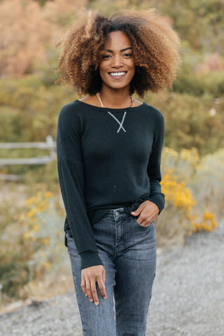 Sadie's Simple Sweater in Black- M & H