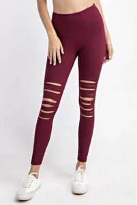 Laser Cut Leggings in Burgundy