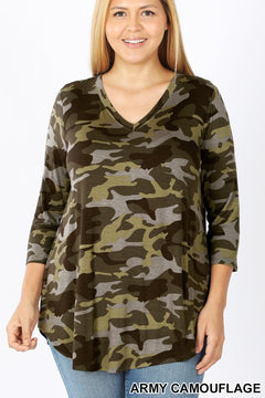 Best Selling Camo Basic 3/4 Sleeve Top NEW COLORS