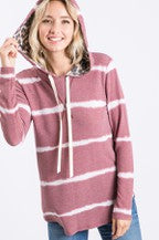 Tie Dye Hoodie with Leopard Detail In Dusty Mauve - all sizes available S - 3XL M & H