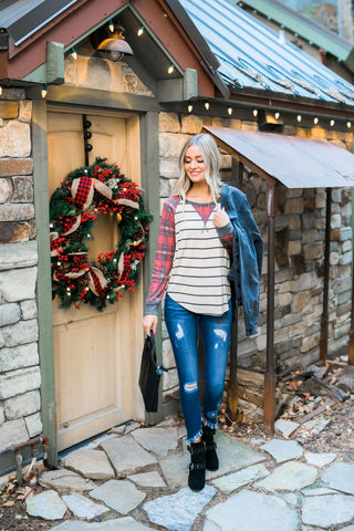 Home For The Holidays Raglan Top - M & H