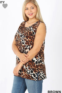 Leopard Print Sleeveless Top with Side Slit