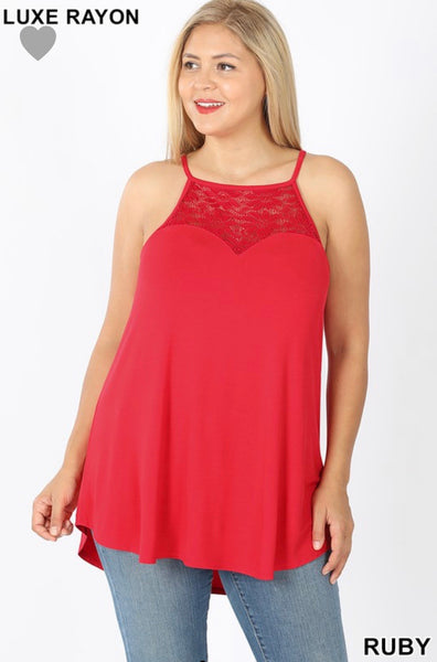 Lace Paneled Sleeveless Halter Top