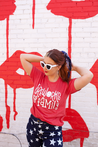 Fireworks & Family Tee in Heather Red - M & H