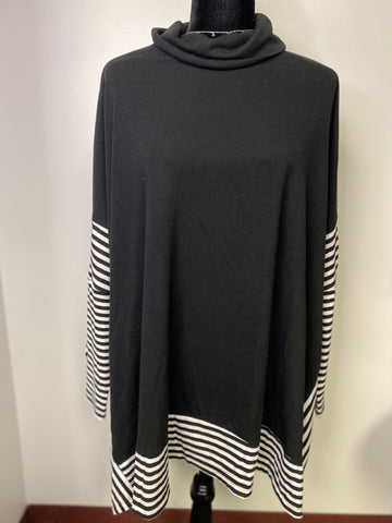 Black Striped Cape Sweater - M & H