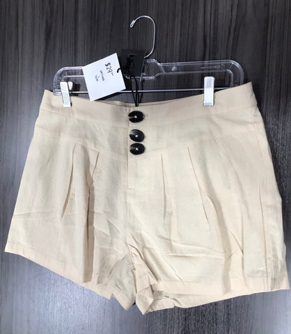 Paper Bag Button Fly Shorts in Taupe - M & H