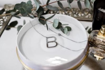 NAME IN LIGHTS STAINLESS STEEL STATEMENT INITIAL NECKLACE- M and H