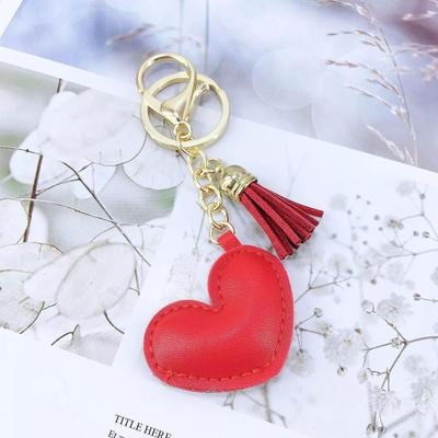 Heart Shaped Keychain with Suede Tassel - M & H