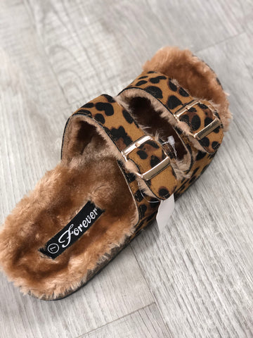 Birkenstock Inspired Double Strap Sandals In Fuzzy Leopard - M & H