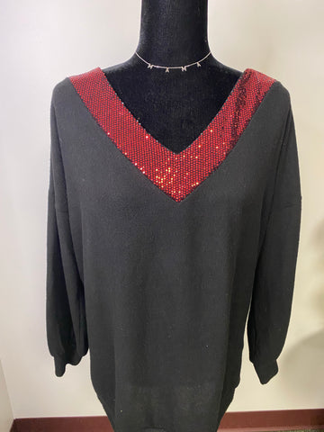 Soft Black Long Sleeve Sweater with Red Sequin Ringer - M & H