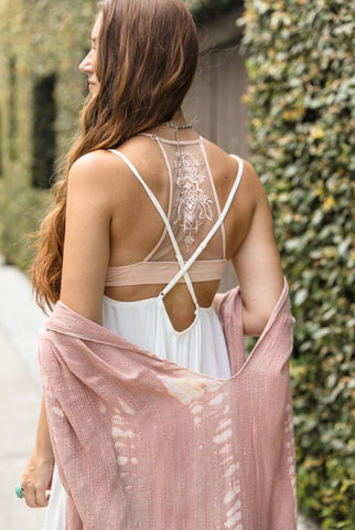 Tattoo Mesh Racerback Bralette In Blush - regular and plus sizes - M & H