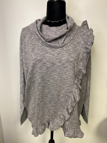 Grey Cowl Neck Ruffle Sweater - M & H