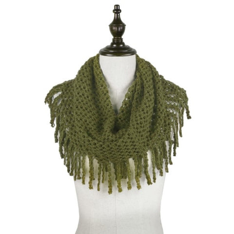 Two Tone Mini Tube Scarf With Fringe Tassels - Earth Tones - M and H