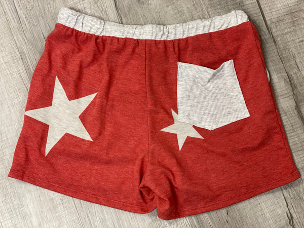 Star Lounge Shorts with Pocket in Red - M & H