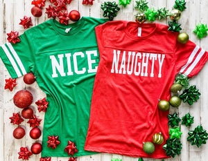 Naughty and Nice Athletic Jersey Tee